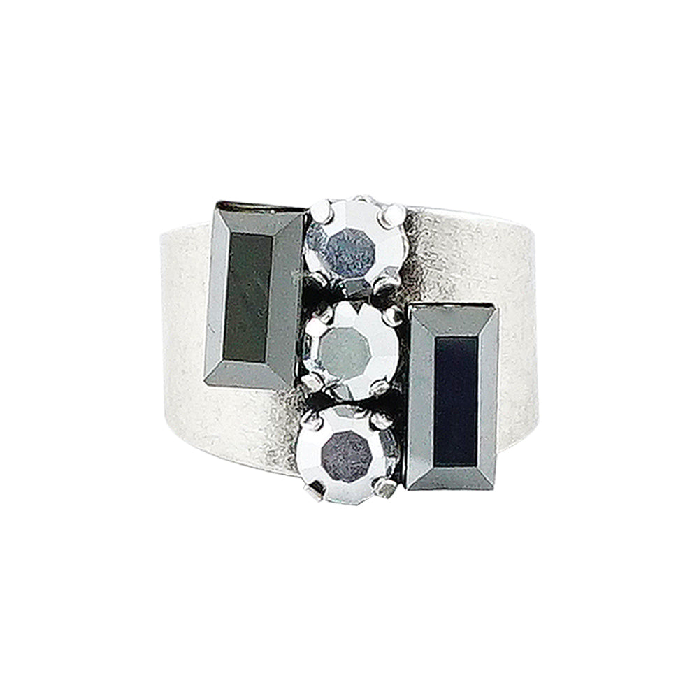 Silver Plated Ring w/ Gunmetal & Silver Crystals