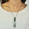 Gunmetal Necklace w/ Metal & Leather Pendant