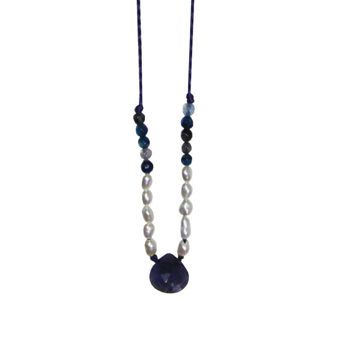 Blue Necklace with Pearls & Stone