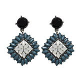 Blue Oil, White & Black Earrings