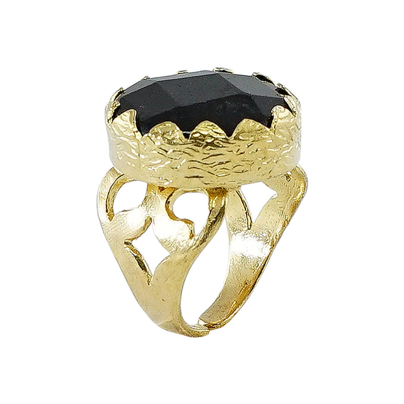 Golden Ring w/ Black Chiseled Stone