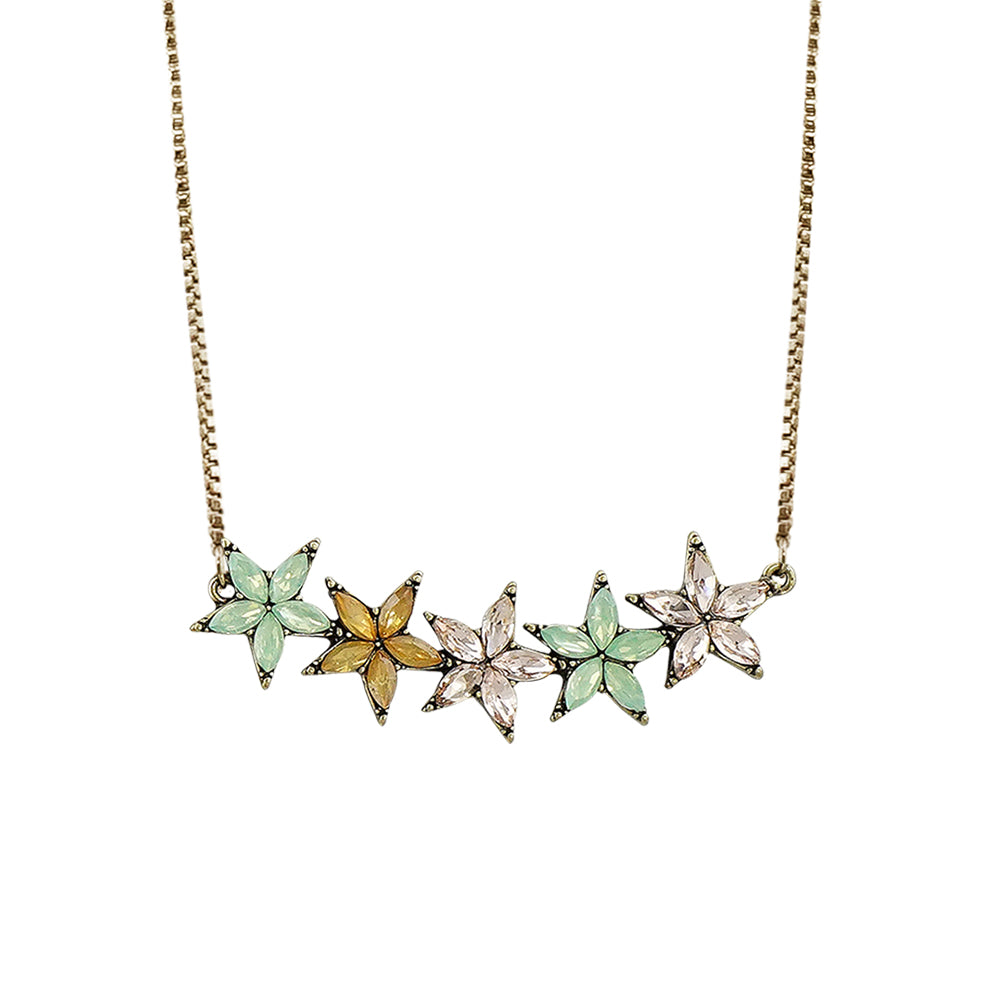 Brass Necklace w/ Multicolored Crystal Flowers