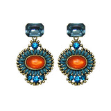 Blue & Orange Crystals Earrings