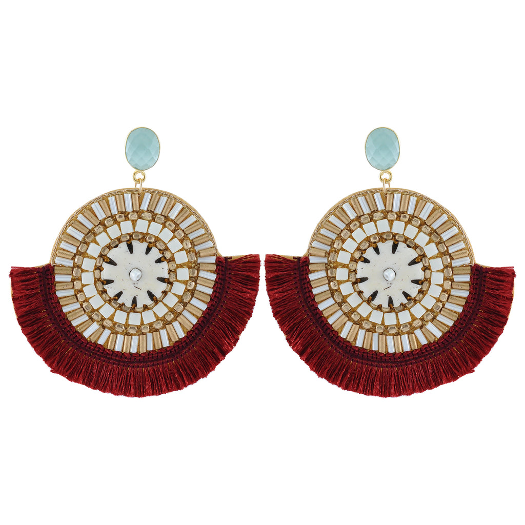 Red Tassel, Stones & Crystal Earrings