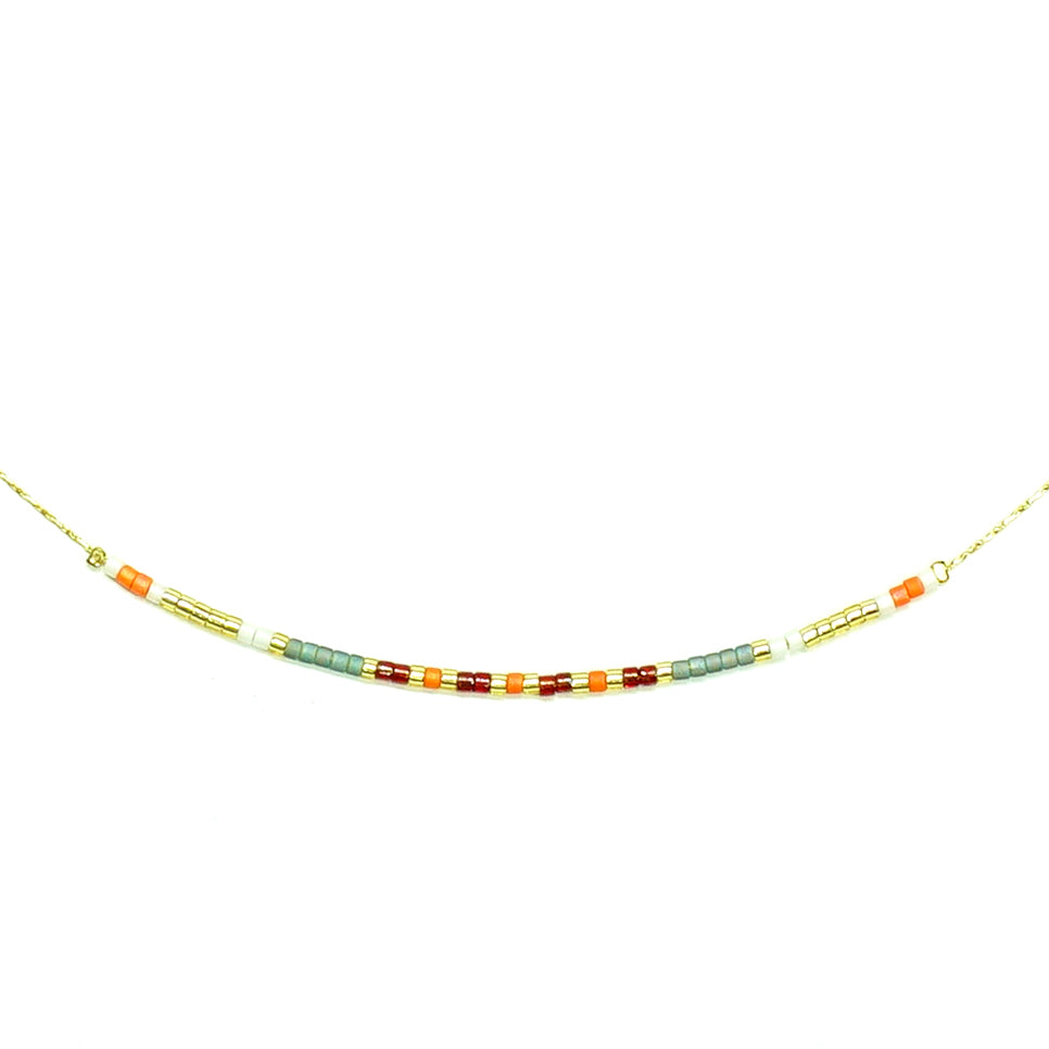 Gold Necklace with multicolored Miyuki Beads