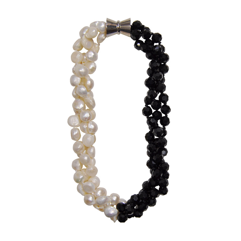 Cultured Pearls & Black Crystal Necklace