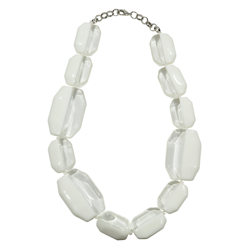 White & Transpararent Resin Necklace