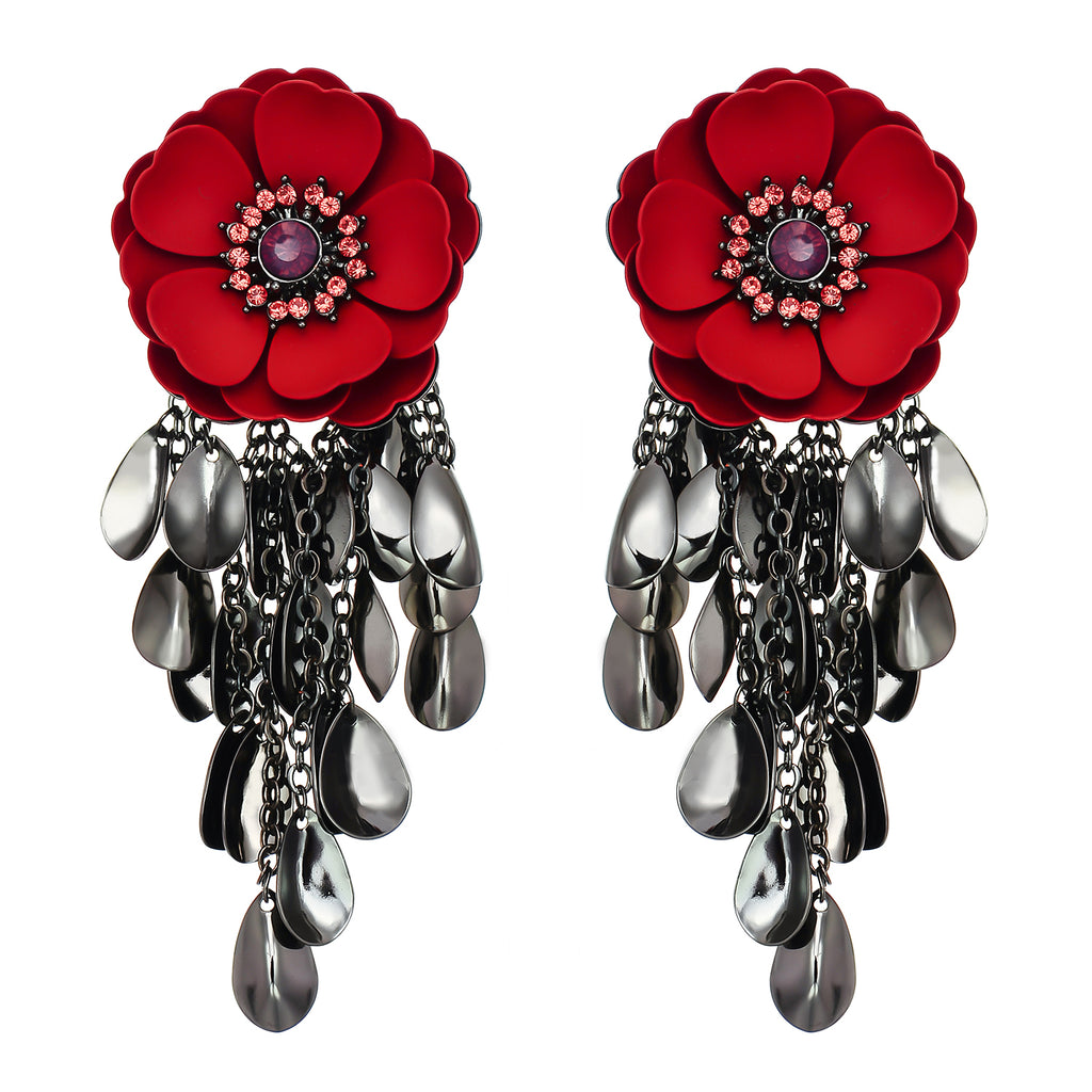 Red Flower Earrings w/ Gunmetal Pendants
