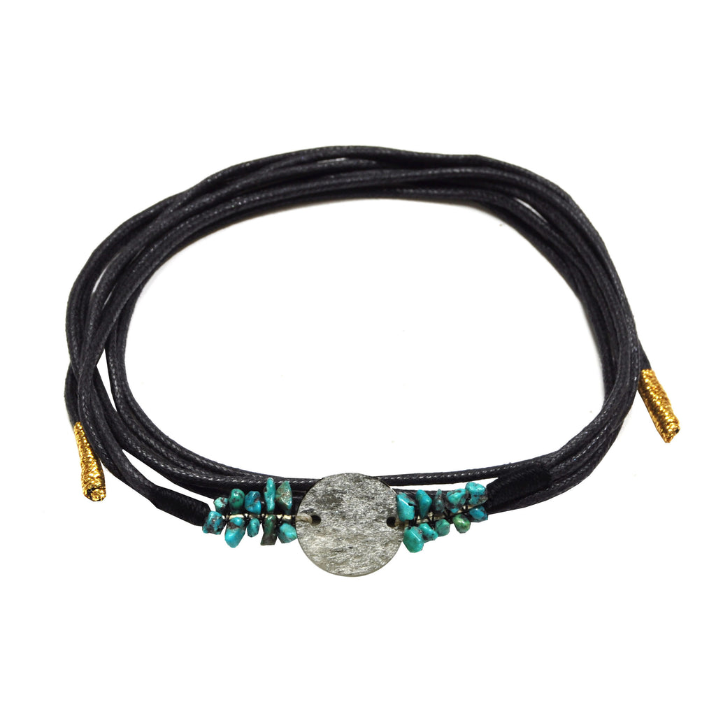 Black Bracelet with Stone Pendant