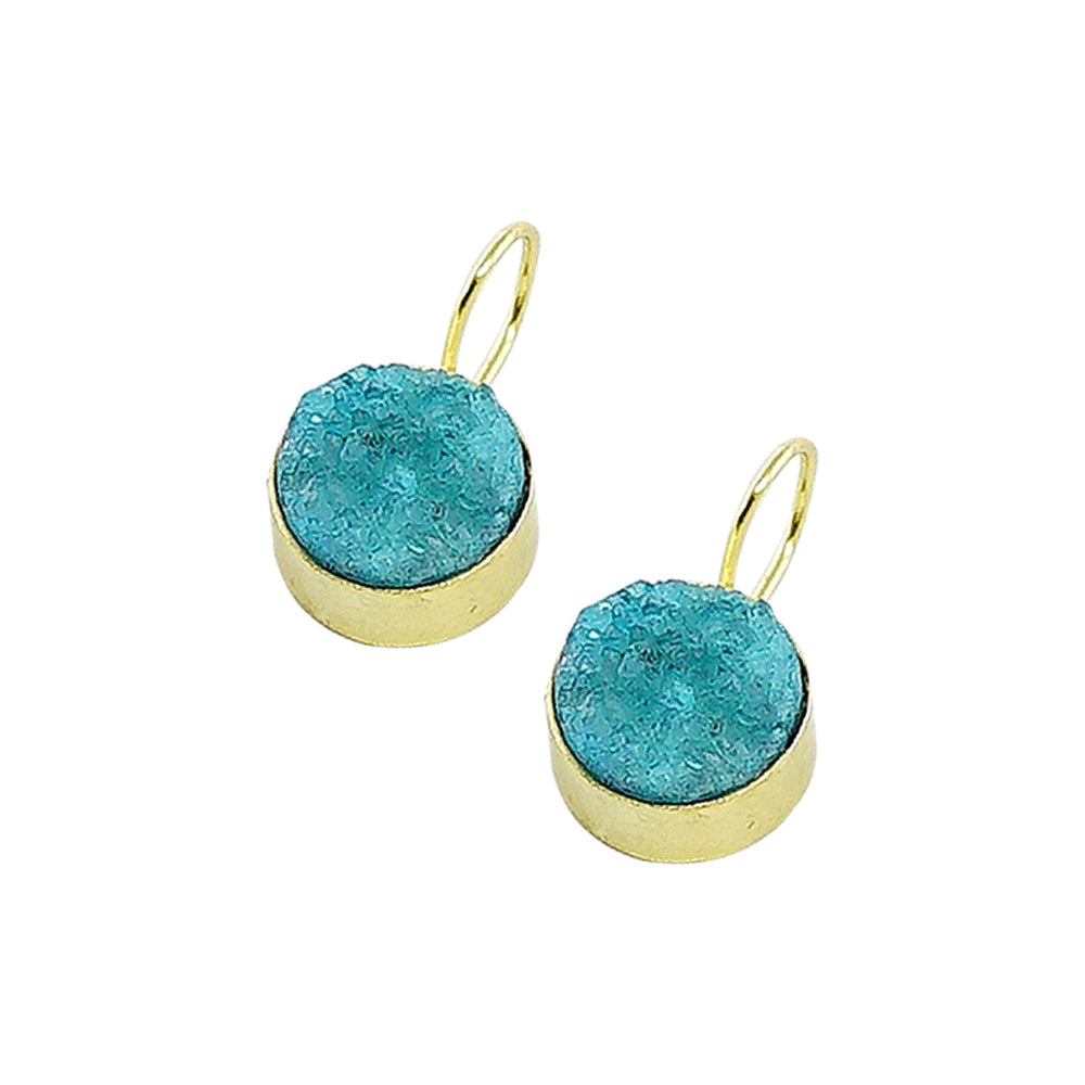 Golden Earrings w/ Light Blue Stone