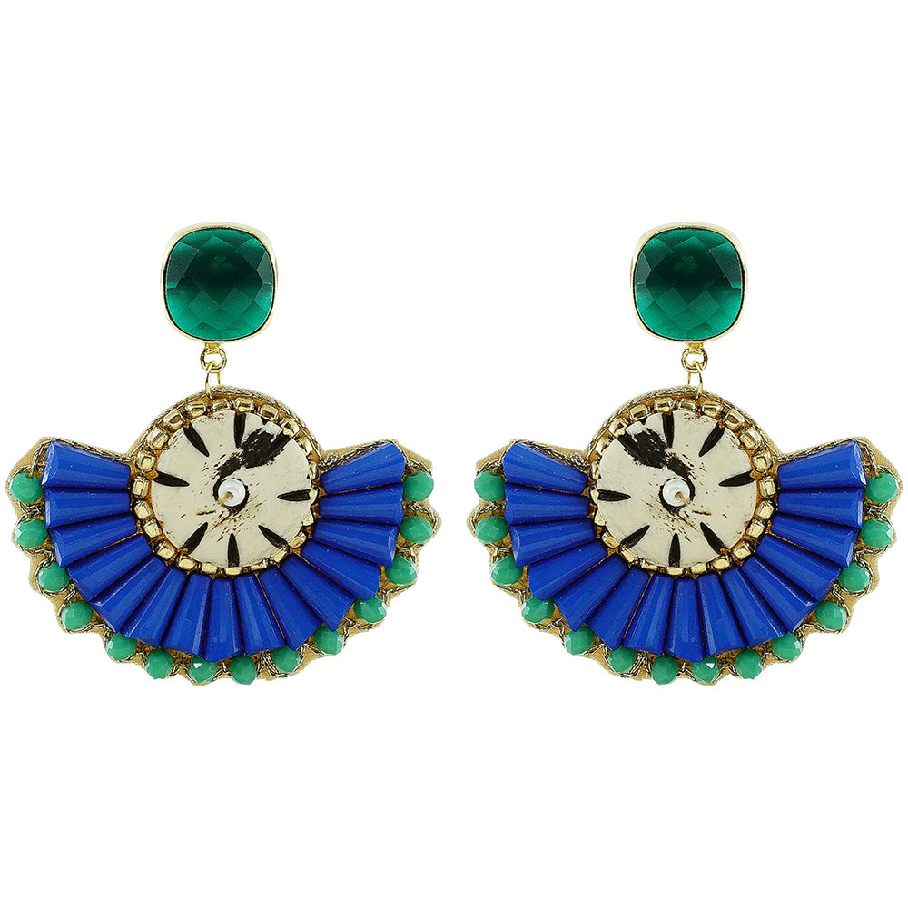 Blue Earrings w/ Green Stones