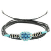 Grey & Blue Bracelet/Necklace w/  Crystals & Patterned Metal