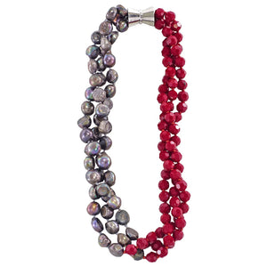 Red Crystal & Cultured Pearls Necklace