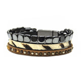 Zebra, Gunmetal & Brown Bracelet