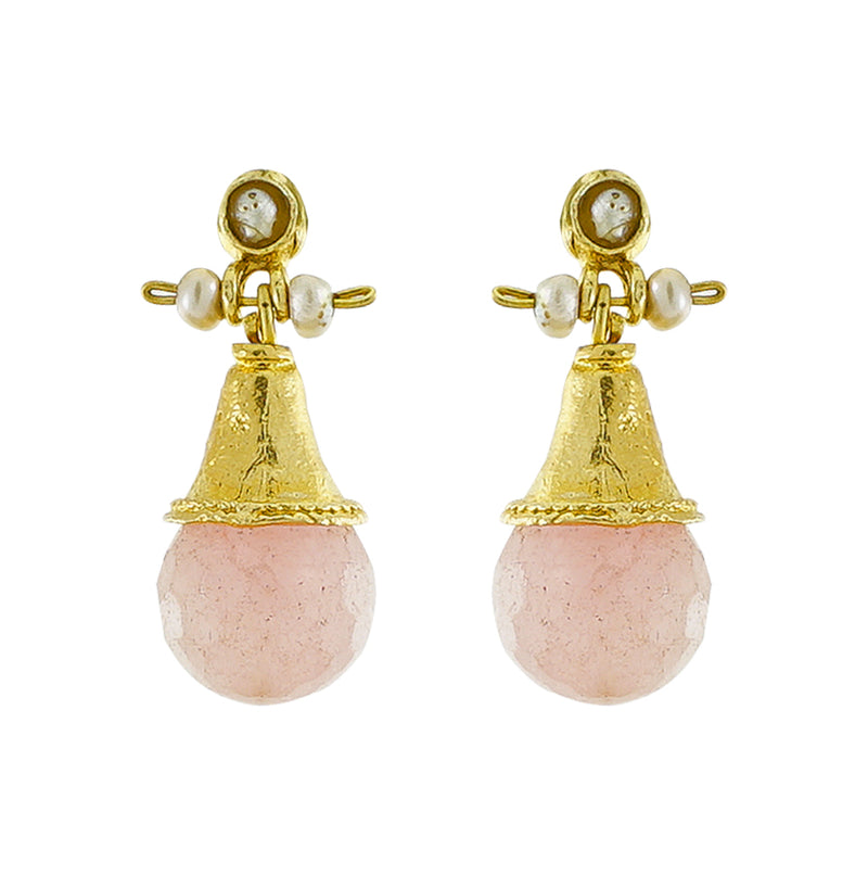 Golden Earrings w/ Pink Quartz Stone & Cultured Pearls