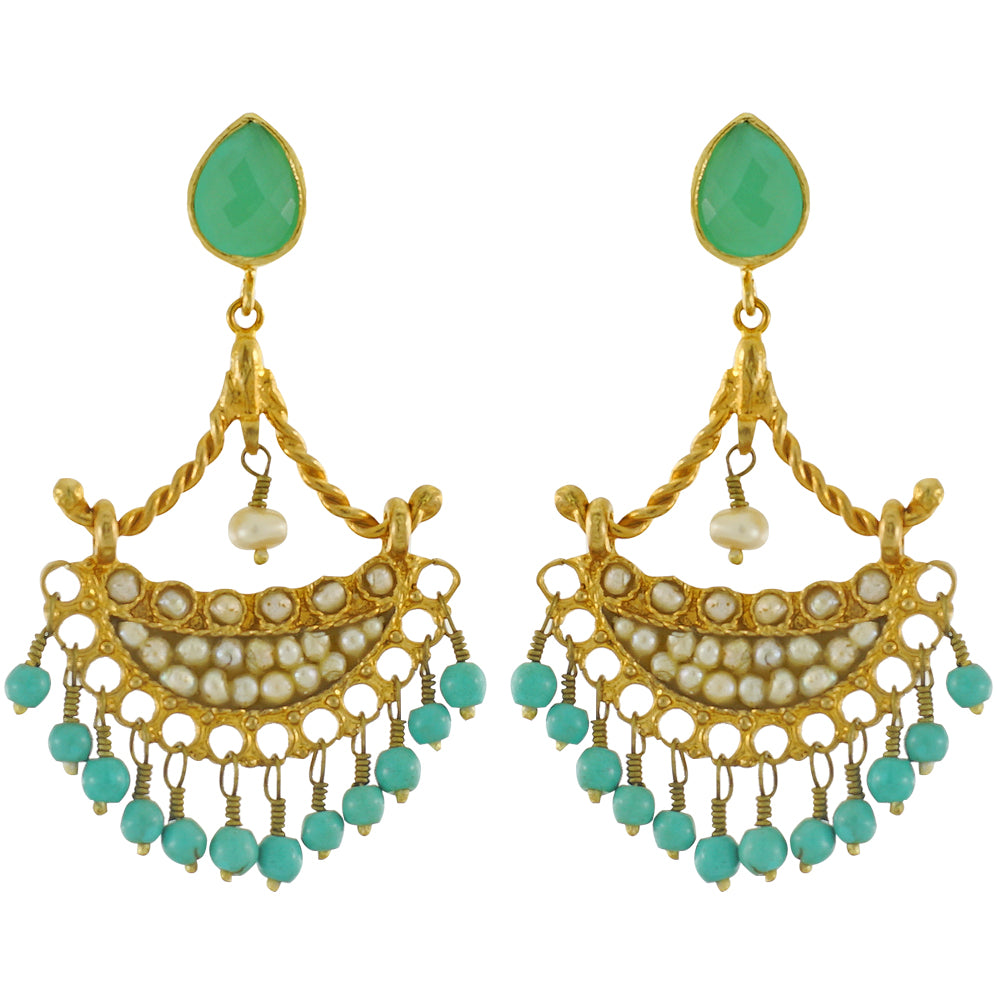 Golden Earrings w/ Crystal, Cultured Pearls & Turquoise Stones