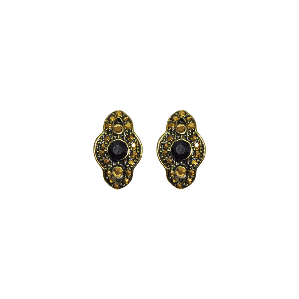 Black and gold crystal earrings