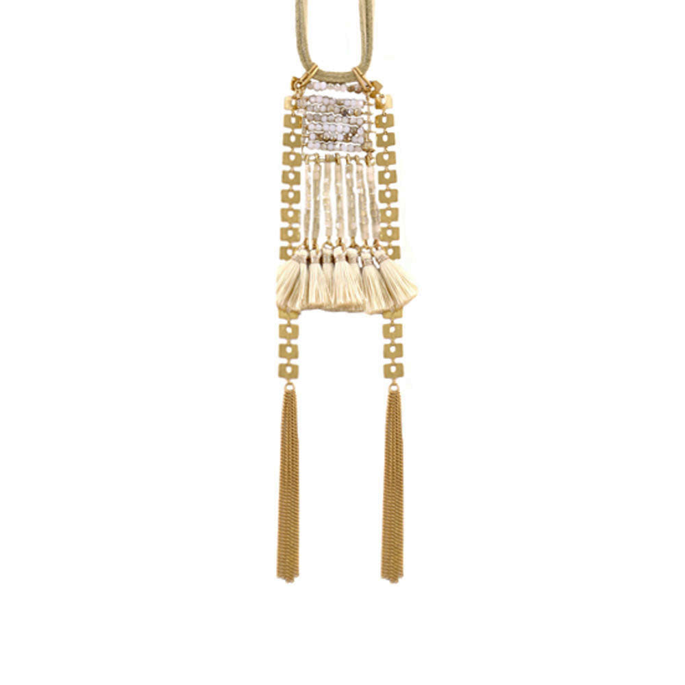 Beige Suede Necklace w/ Golden Details & Silk Tassels