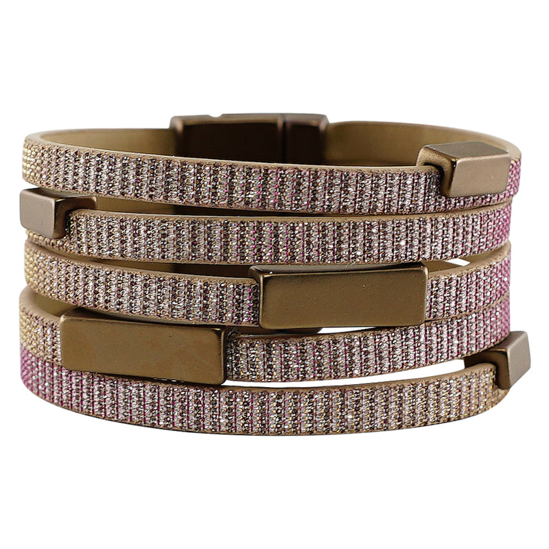 Pink glitter bracelet w/ rectangular shapes