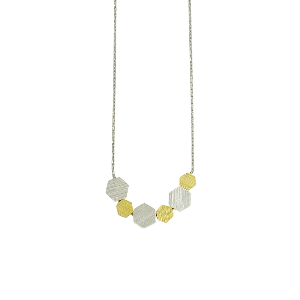 Necklace w/ Golden & Silver Scratched Hexagons