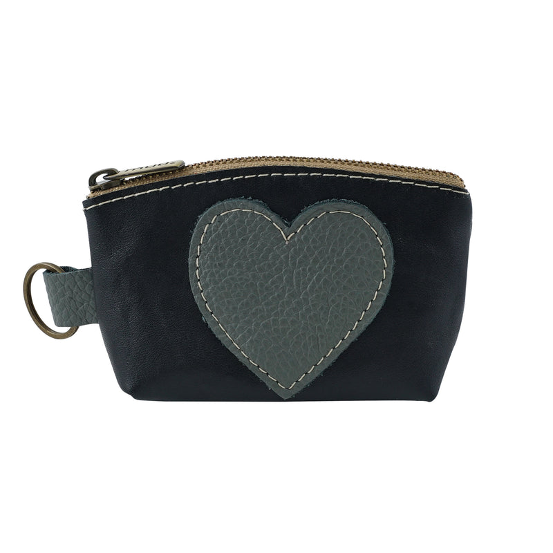 Black & Grey Leather Purse w/ Heart