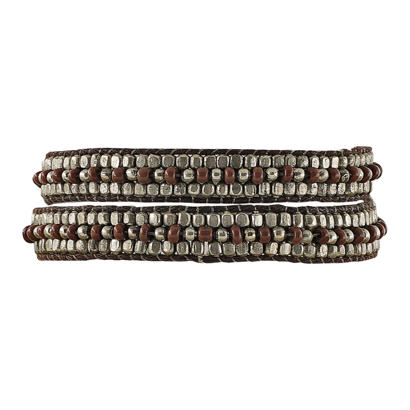 Brown Bracelet/Choker w/ Metal Beads