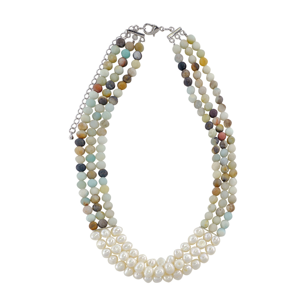 Multicolored Stone & Cultured Pearls Necklace
