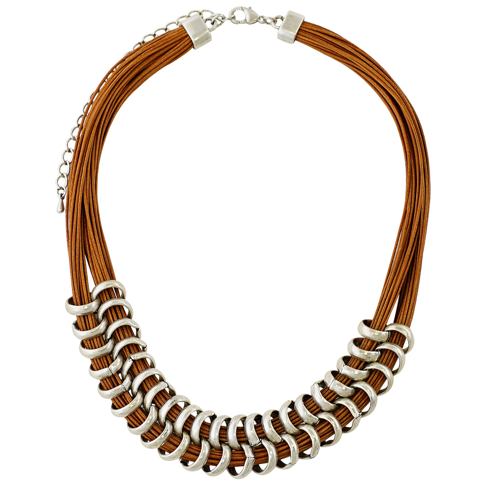 Leather Necklace w/ Silver Details
