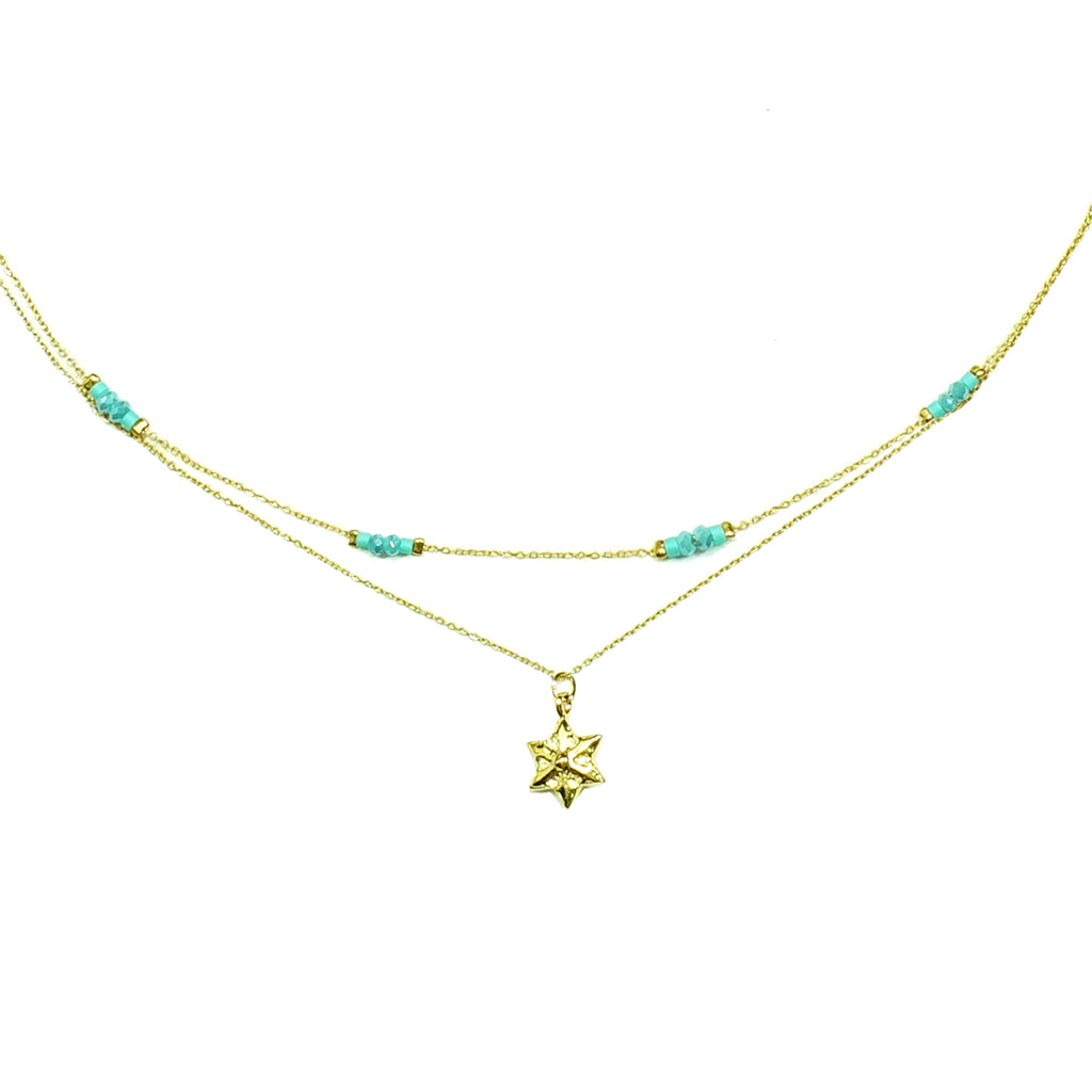 Gold necklace with blue beads and star pendant