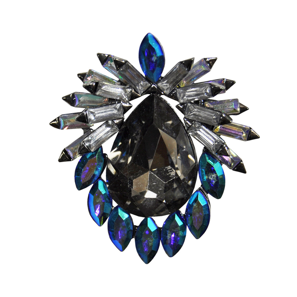 Blue crystal brooch