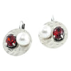 Silver Earrings w/ Cultured Pearl & Red Crystals