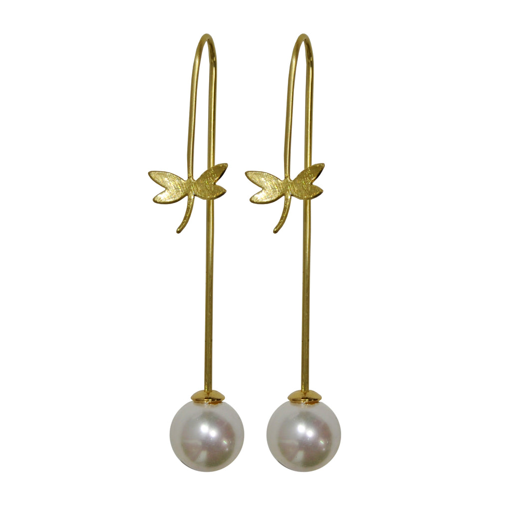 Golden Bug Earrings with Pearl