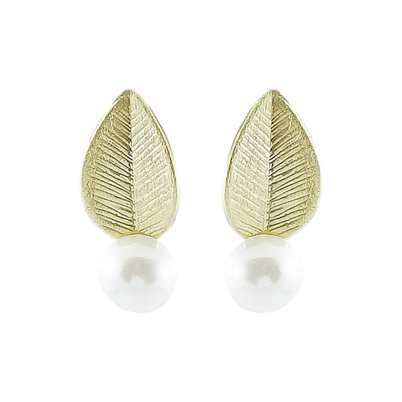 Golden Leaf Earrings w/ Cultured Pearls