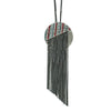 Gunmetal Necklace w/ Tassels & Multicolored Crystal Pendant