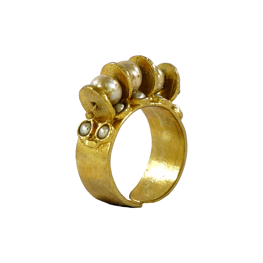 Golden Ring w/ Barroque Pearls