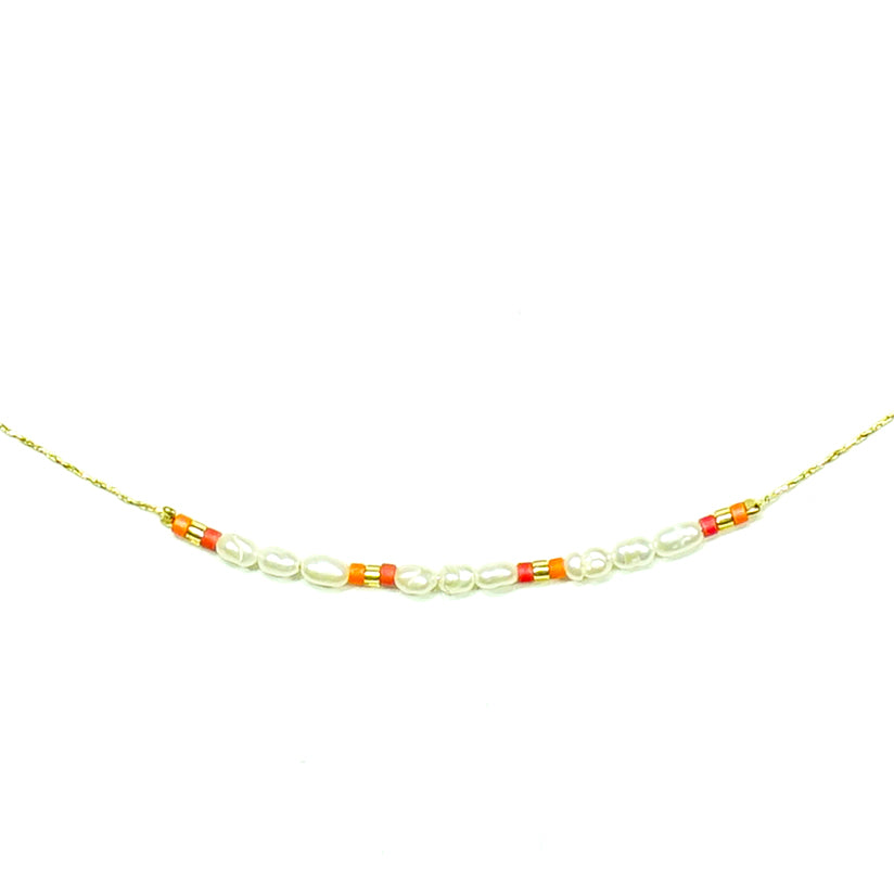 Gold necklace w/ multicolored miyuki beads and Pearls