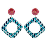 Red & Blue Patterned Earrings
