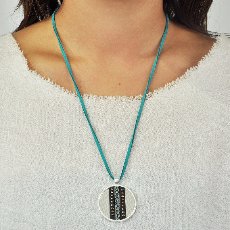 Blue Suede Necklace w/ Pendant