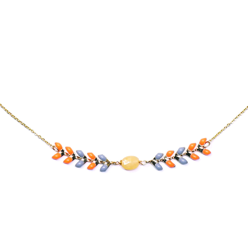 Gold necklace w/ multicolored enamel details and Yellow stone