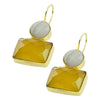 Golden Earrings w/ Yellow & White Stones