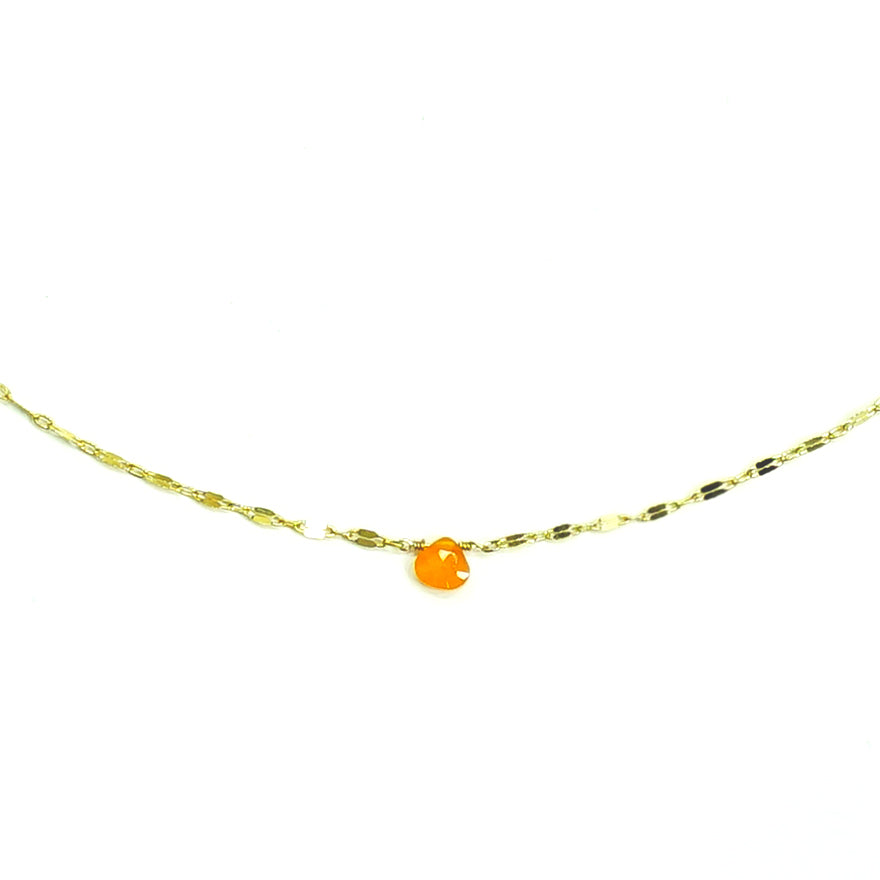 Gold necklace with orange stone