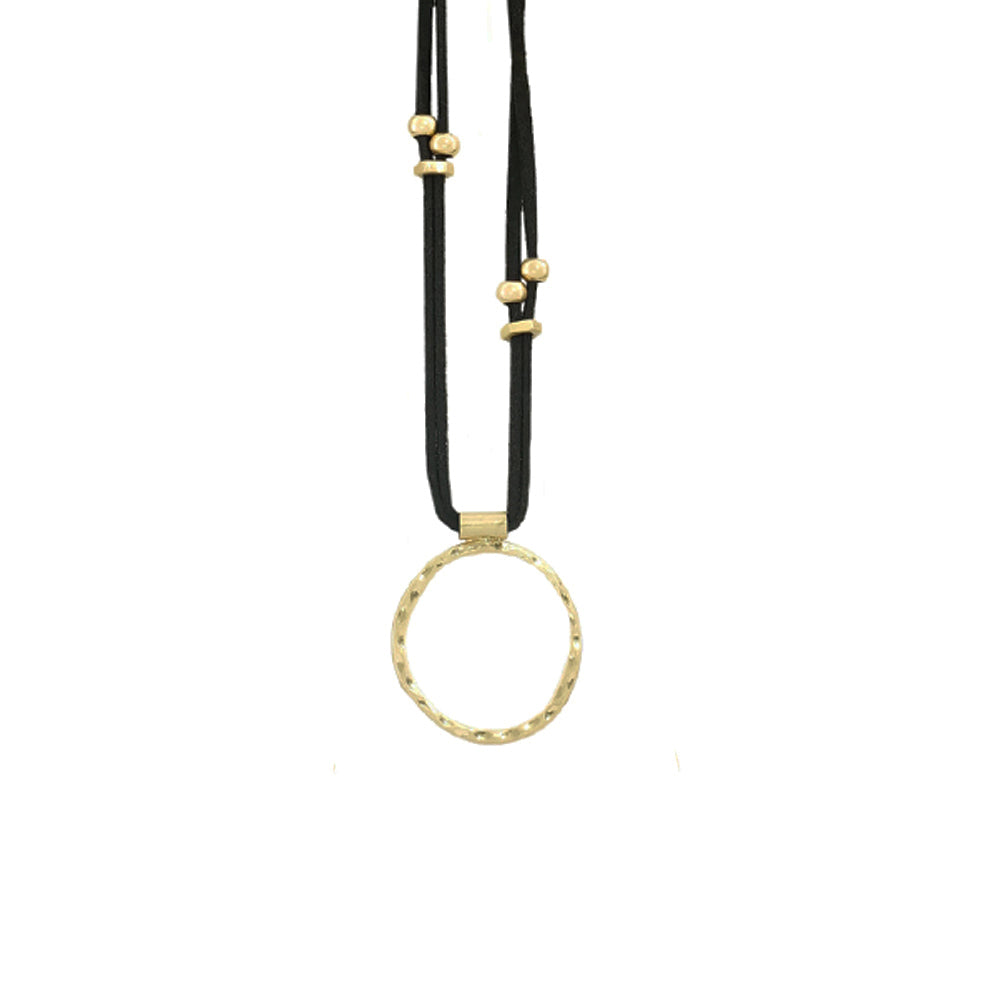 Black Suede Necklace w/ Golden Pendant
