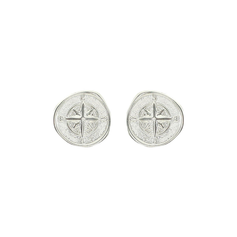 Silver Compass Earrings