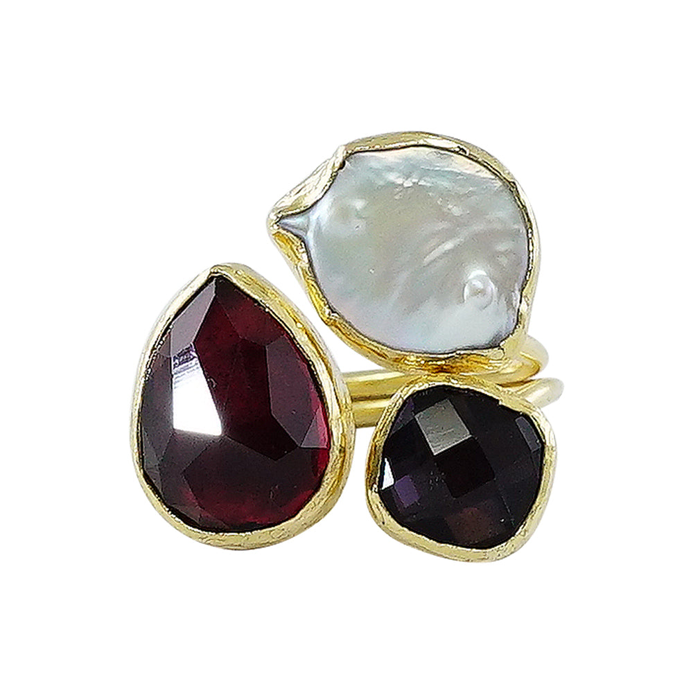 Golden Ring w/ Mother of Pearl, Red & Purple Stones