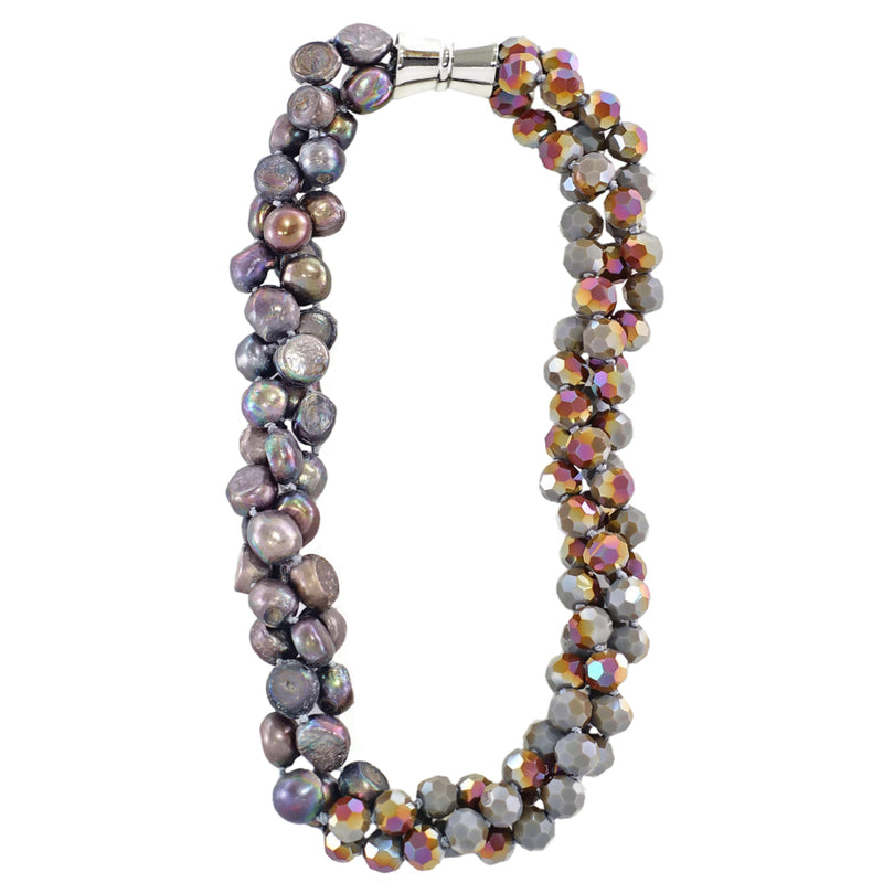 Grey Crystal & Cultured Pearls Necklace