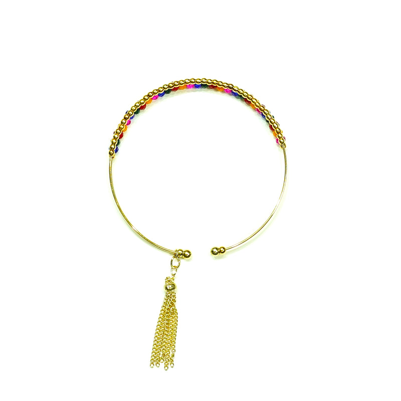 Multicolored and golden beads bracelet