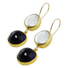 Golden Earrings w/ Mother of Pearl & Blue Stone