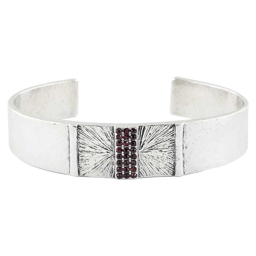 Silver Bracelet w/ Red Crystals