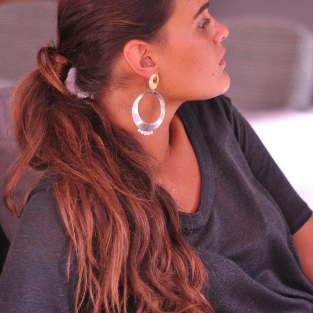 Scratched Gold & Silver Earrings