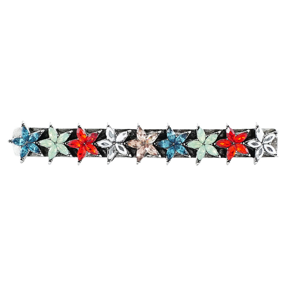 Multicolored Crystal Flowers Hairclip
